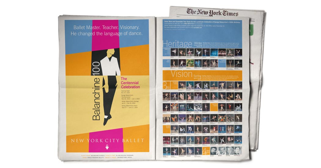 Balanchine 100 Celebration: New York Times Double Truck ad