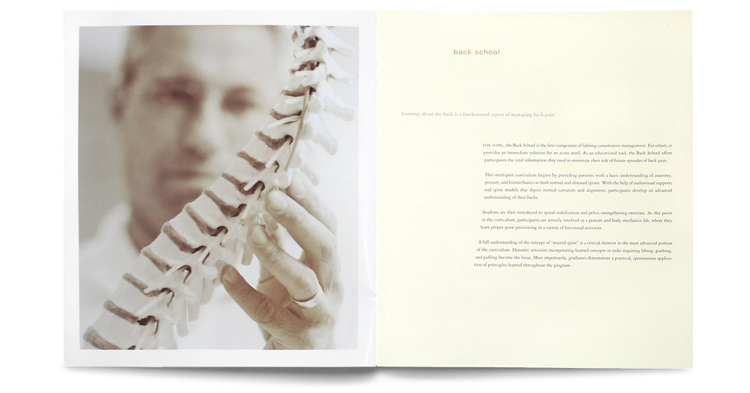 The Spine Center Brochure: interior spread 4