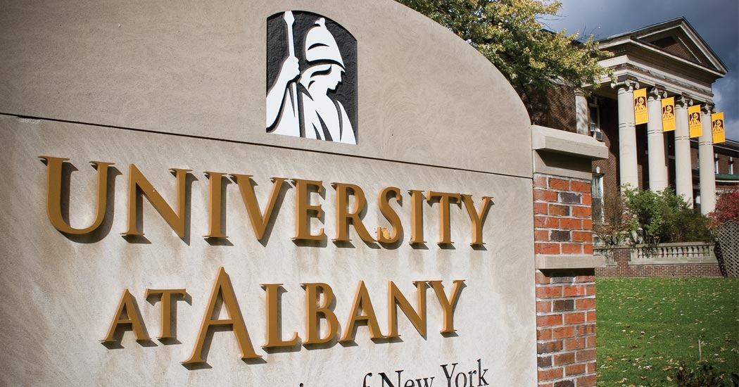 University at Albany entrance signage